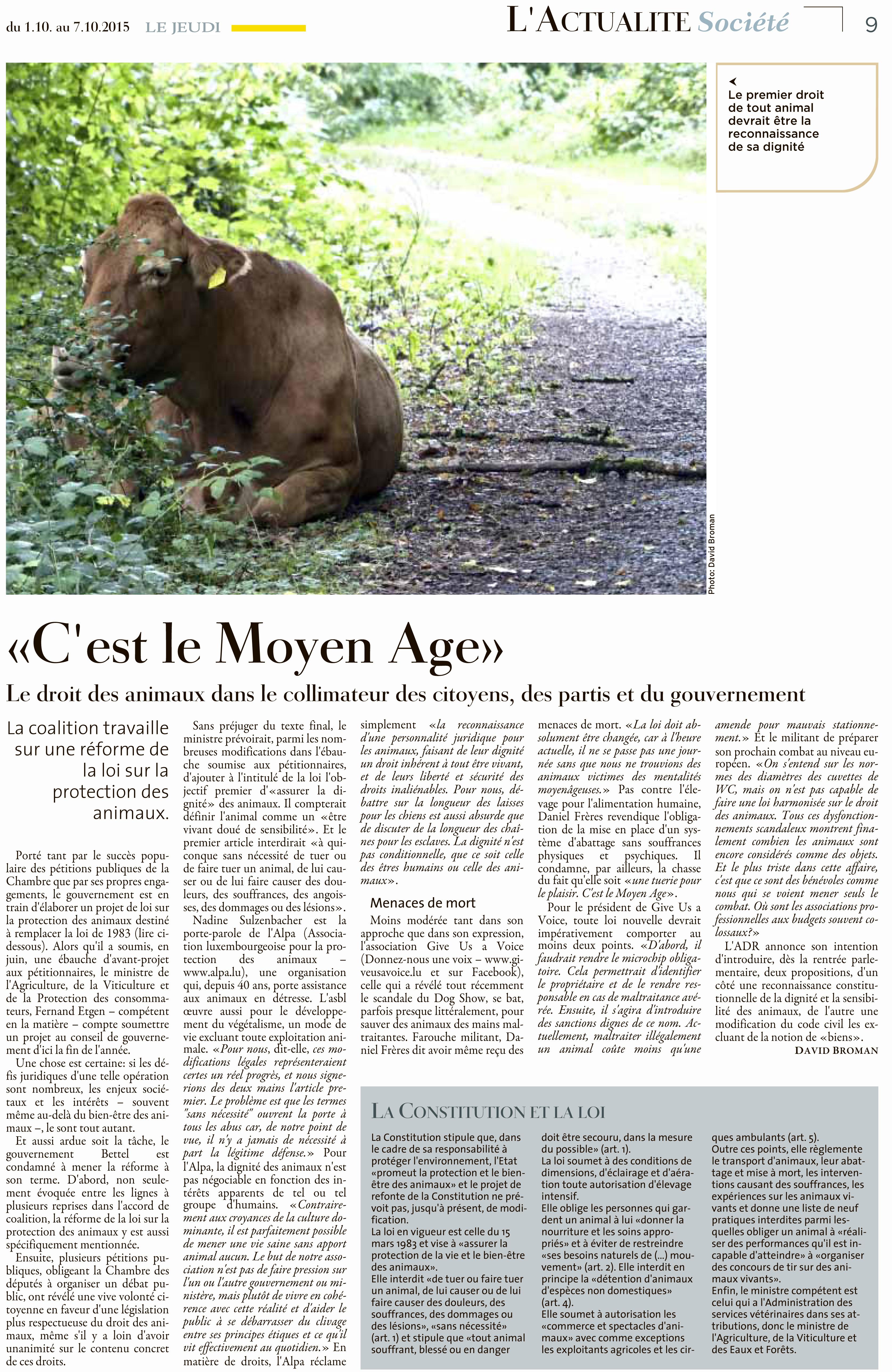 Le Jeudi, Ausgabe: Le Jeudi, vom: Donnerstag, 1. Oktober 2015