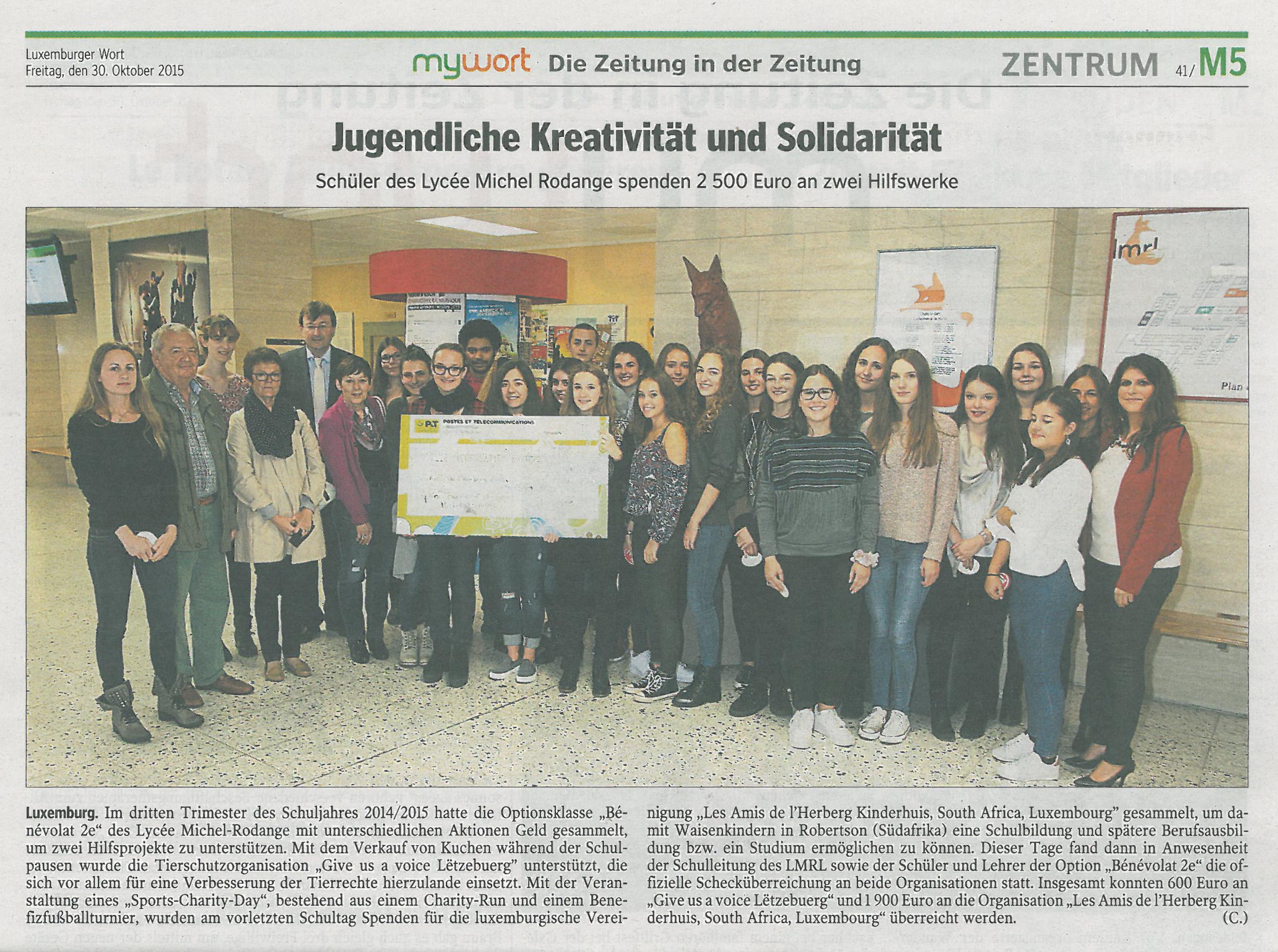 Luxemburger Wort Article Michel-Rodange School donation